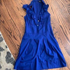 Blue sleeveless dress with ruffles